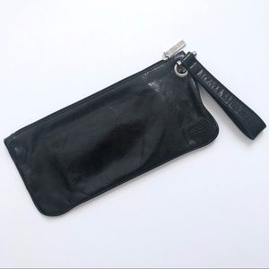Hobo Vida Black Leather Wristlet Clutch GUC